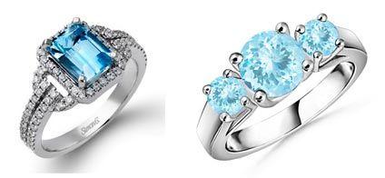 anillos de oro blanco con aguamarina