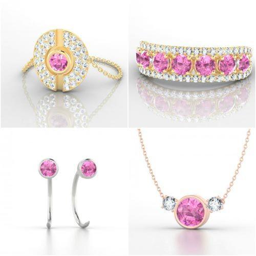 joyas con zafiros rosas
