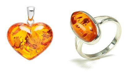 colgante y anillo de plata con ambar
