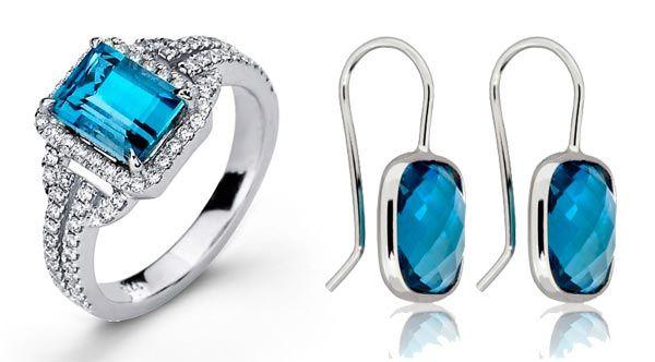joyas con topacio azul, anillo y pendientes con topacio azul