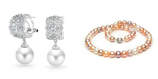 pendientes y collar con perlas cultivadas