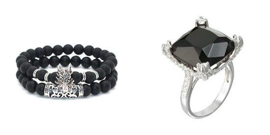 anillo y pulsera con piedra onix negro