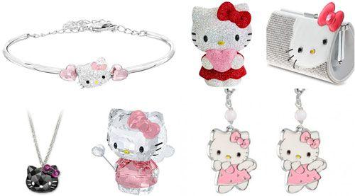 joyas swarovski hello kitty, pendientes plata san valentin