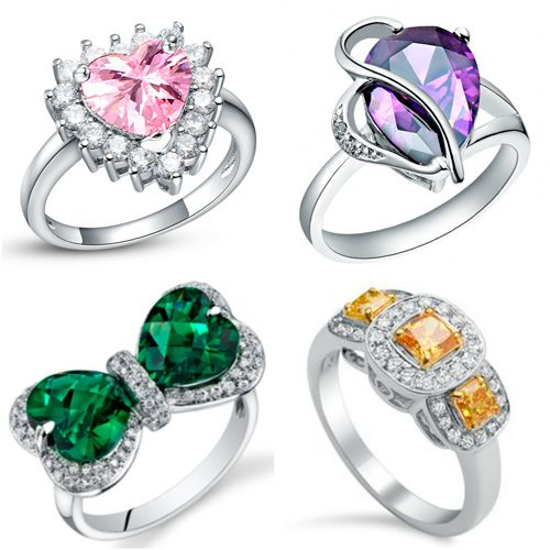 anillos de compromiso con diamantes colores