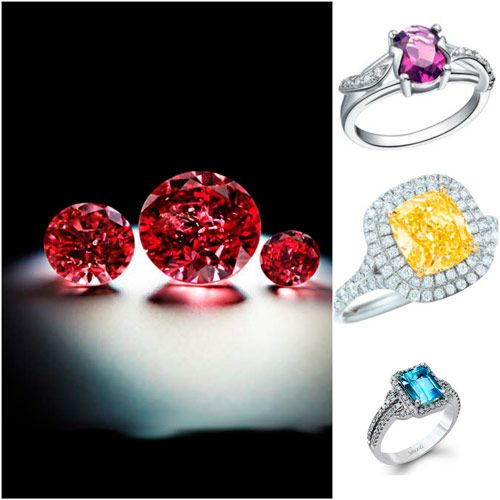 sortijas con diamantes de colores